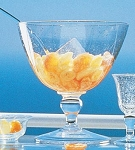 Biot Bubbled Glass Stemmed Serving Bowl, Ladle and Dessert or Ice Cream Set