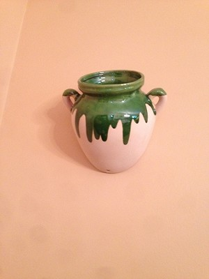 Decorative Ceramic Mural Jars from Provence - 2 Small Green Dribble